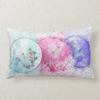 Japanese Style Watercolour Parasols Lumbar Pillow