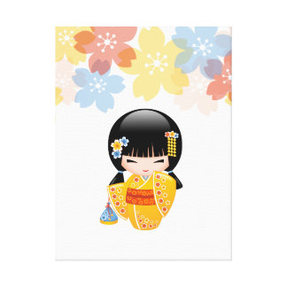 Japanese Summer Kokeshi Doll Gallery Wrapped Canvas