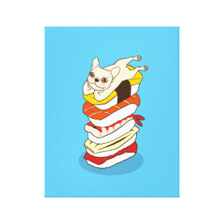 Japanese sushi night for the cute French Bulldog Canvas Print
