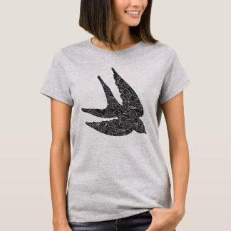 Japanese Swallow in Flight, Charcoal & Light Gray T-Shirt