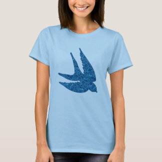 Japanese Swallow in Flight, Cobalt Blue and White T-Shirt