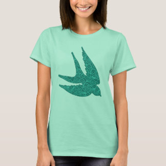Japanese Swallow in Flight, Turquoise and Aqua T-Shirt