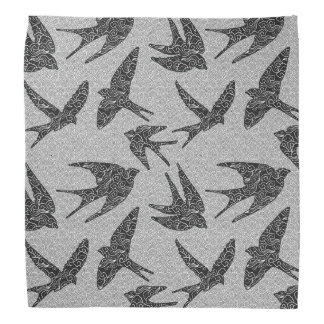 Japanese Swallows in Flight, Charcoal & Light Gray Bandana