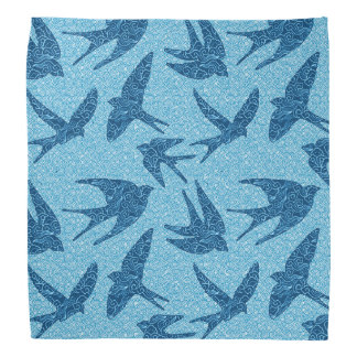 Japanese Swallows in Flight, Cobalt and Pale Blue Bandana