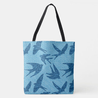 Japanese Swallows in Flight, Cobalt and Pale Blue Tote Bag