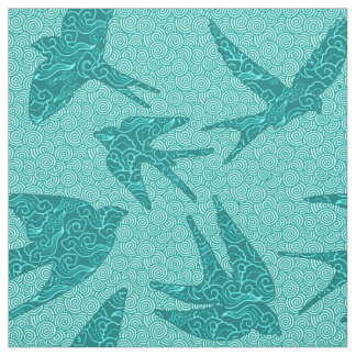 Japanese Swallows in Flight, Turquoise and Aqua Fabric