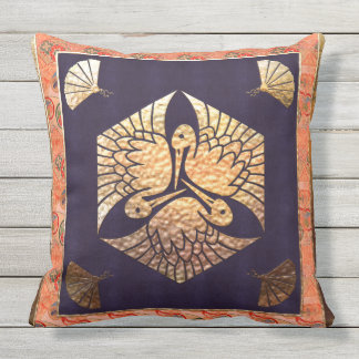 Japanese Swan Traditional Motif Outdoor Cushion