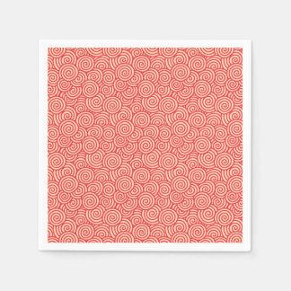 Japanese swirl pattern - coral orange paper napkins