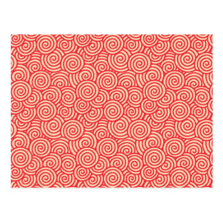 Japanese swirl pattern - coral orange postcard