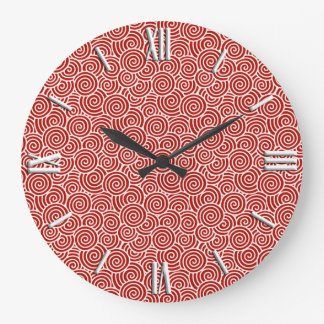 Japanese swirl pattern - deep red and white clocks