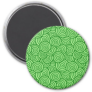 Japanese swirl pattern - pine and lime green refrigerator magnet