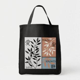 Japanese Symbols on Leafy Vine Tote Grocery Tote Bag