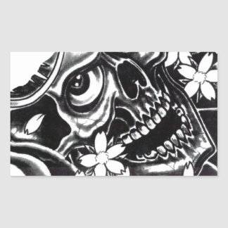Japanese tattoo skull rectangular sticker