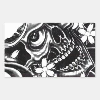 Japanese tattoo skull rectangular sticker