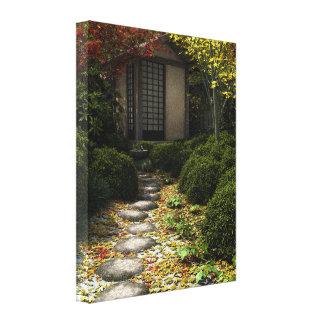 Japanese Tea House and Garden in Autumn Canvas Print