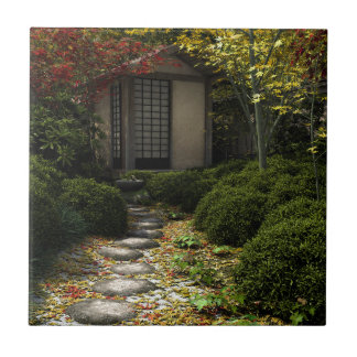 Japanese Tea House and Garden in Autumn Ceramic Tile
