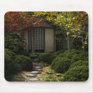 Japanese Tea House and Garden in Autumn Mouse Pad