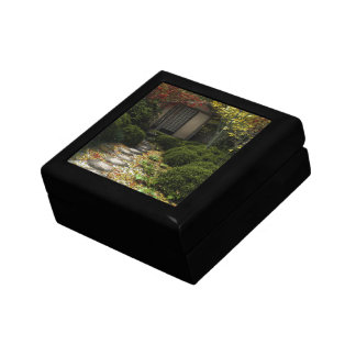 Japanese Tea House and Garden in Autumn Small Square Gift Box