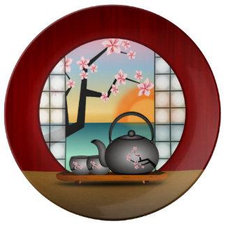 "Japanese Tea Room Japan Art 10.75"" Porcelain Plate"