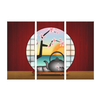 Japanese Tea Room Wrapped Canvas Art Print Panels Gallery Wrapped Canvas