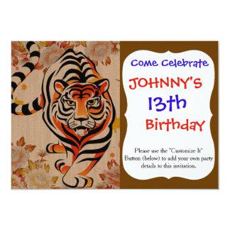 japanese tiger art 13 cm x 18 cm invitation card