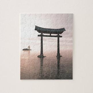 Japanese Torii Gate at a Shinto Shrine, Evening Jigsaw Puzzle