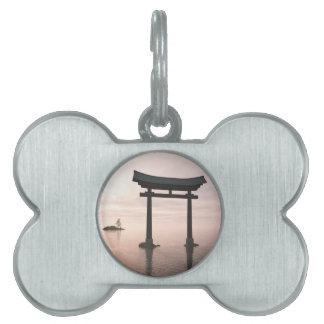 Japanese Torii Gate at a Shinto Shrine, Evening Pet Name Tag