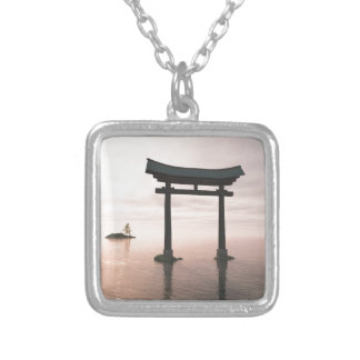 Japanese Torii Gate at a Shinto Shrine, Evening Silver Plated Necklace