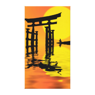 Japanese Torii (gate) sunset drawing Gallery Wrapped Canvas