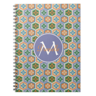 Japanese Tortoiseshell Honeycomb Lavender Orange Spiral Notebook