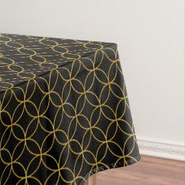 Japanese Traditional Design1  SHIPPO  Blacku0026Gold Tablecloth