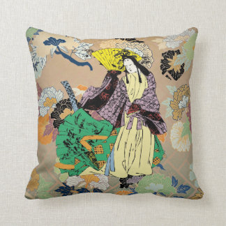 Japanese Traditional Women with Flower Pattern Cushion