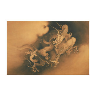 Japanese Two dragons in Clouds Canvas Print