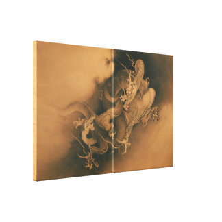 Japanese Two dragons in Clouds Canvas Prints