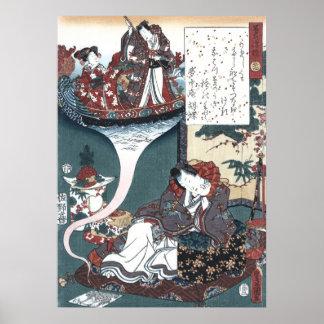 Japanese Ukiyo-e The Bridge of Dreams, Genji Poster