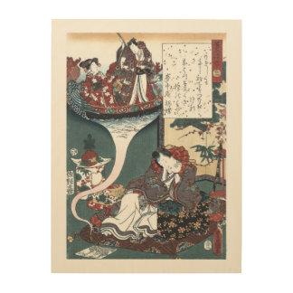 Japanese Ukiyo-e The Bridge of Dreams, Genji Wood Wall Art
