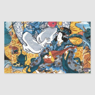 Japanese Ukiyoe Art (kunisada utagawa) Rectangular Sticker