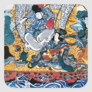 Japanese Ukiyoe Art (kunisada utagawa) Square Sticker