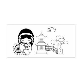 Japanese Umbrella Girl in Kimono Self-inking Stamp