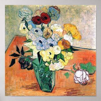 Japanese Vase Roses Anemones Van Gogh Fine Art Poster