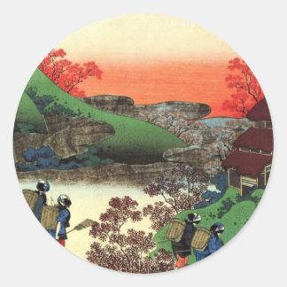Japanese Village Classic Round Sticker