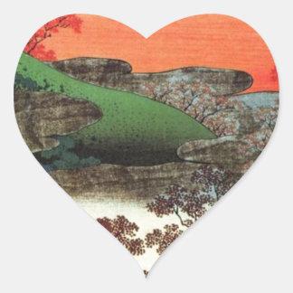 Japanese Village Heart Sticker