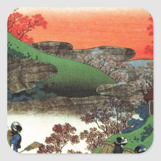 Japanese Village Square Sticker