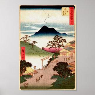 Japanese Village w/Mountain Woodblock Art Ukiyo-E Poster
