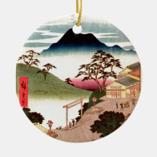 Japanese Village with Mountain Ceramic Ornament
