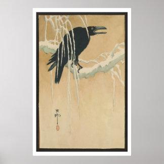 Japanese Vintage Art Image  of Black Crow in Snow Posters