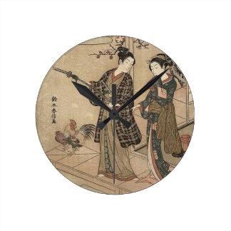 Japanese Vintage Beauty Geisha Lady Woman Maiko Round Clock