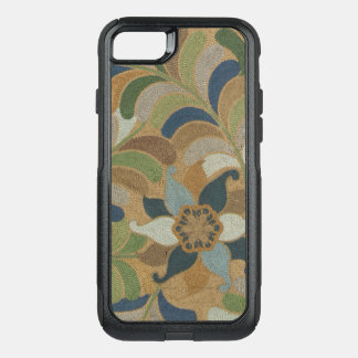 Japanese Vintage Floral Blue Brown Embroidered OtterBox Commuter iPhone 8/7 Case