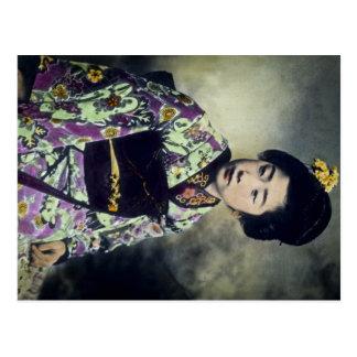 Japanese Vintage Geisha Beauty Magic Lantern Slide Postcard