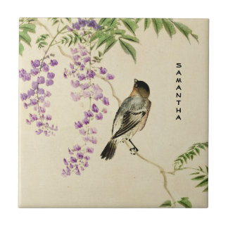 Japanese Vintage Lilac Sparrow Ceramic Tile